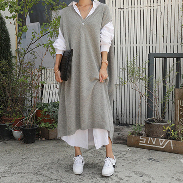 따뜻한 회색 스웨터 드레스 여성 특대 민소매 캐주얼 느슨한 니트 드레스 숙녀 사무 작업복 긴 드레스 가운 Longue