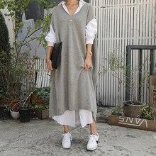 Vestido de punto gris cálido para mujer, sin mangas, holgado, informal, largo, para oficina y trabajo