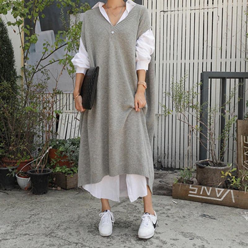Oversize sem Mangas Vestido de Malha Quente Cinza Camisola Vestidos Mulheres Casual Solto Senhoras Escritório Trabalho Usar Vestido Longo Robe Longue