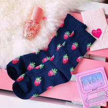 цена на Fashionable Cotton Socks Cute Letter Strawberry Print Crew Socks All Seasons Socks
