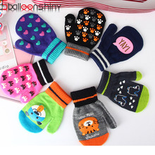 BalleenShiny/Детские теплые перчатки для малышей; Детские рукавицы мультфильмы с животными для мальчиков и девочек; перчатки на полный палец с защитой от царапин; зимние аксессуары