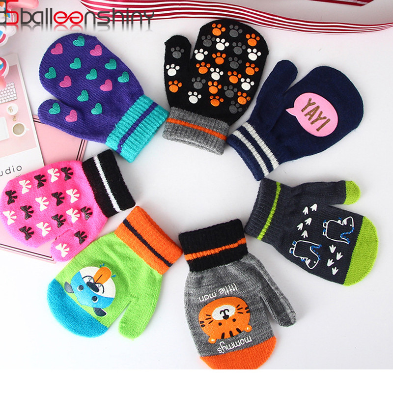 BalleenShiny Baby Warme Handschuhe Kleinkind Kid Tier Cartoon Fäustlinge Jungen & Mädchen Volle Finger Handschuh Anti-Scratch <font><b>Winter</b></font> Zubehör image
