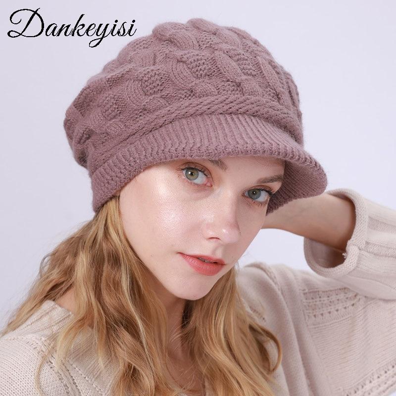 DANKEYISI Women Warm Visors Rabbit Fur Hat Lady Winter Knit Ski Beanie Caps Hat Female Gorras Para Hombre Gorros Mujer Cap