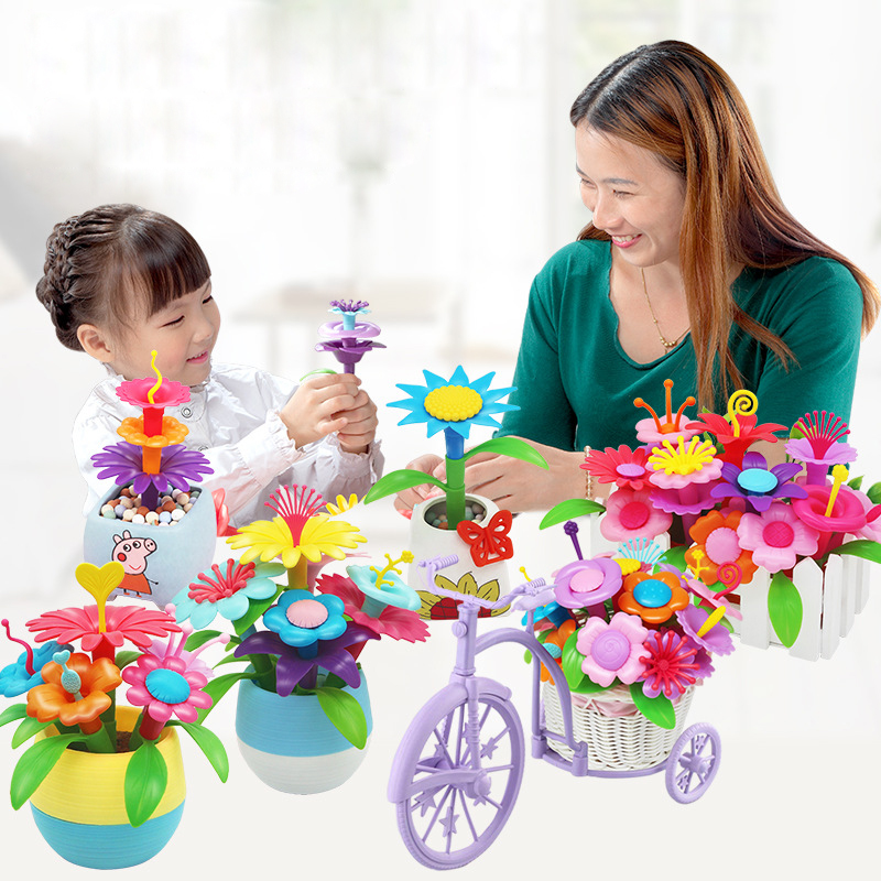 Kids 46pcs/set DIY Pop Beads Flowers Toys Set Flower Arrangement Toy Assembling Garden Educational Toys For Children Xmas Gift