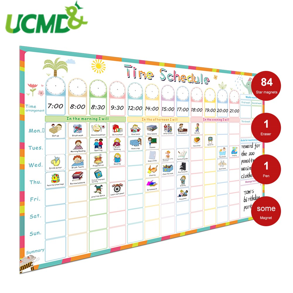 Magnetic Time Schedule Calendar Hold Magnets WhiteBoard Behavior Reward Chart 40pcs Magnetic Chores Card Kids Educational Toys
