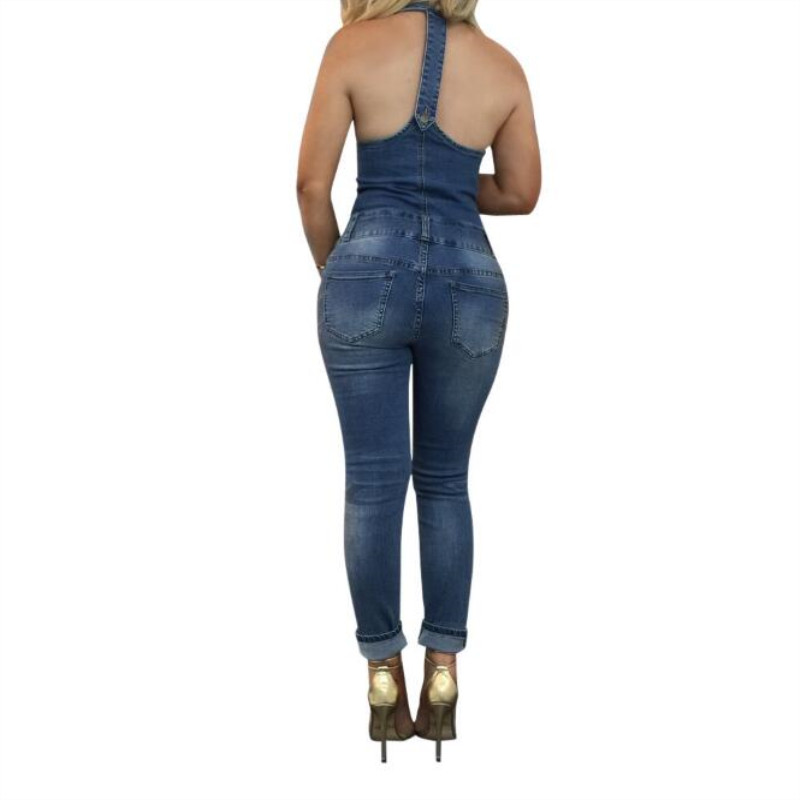 Backless Sexy Sleeveless Buttons Jeans Bodysuit Cotton 2019 New Woman Denim Jumpsuits