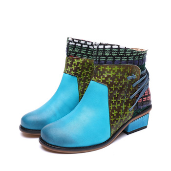 SWYIVY Women Shoes Thick Heel Ankle Boots Blue Bandage 2019 New Female Vinteage Casual Martin Boots Shoes Genuine Leather Boot