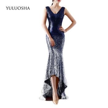 YULUOSHA Evening Dresses Long 2020 V-Neck Sequined Sleeveless Floor-Length Lace Satin Dress Royal Blue Dress Robe De Soiree