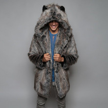 Fashion Men Warm Thick Coat Jacket Faux Fur Parka Outwear Winter Long Overcoats Streetwear Y820