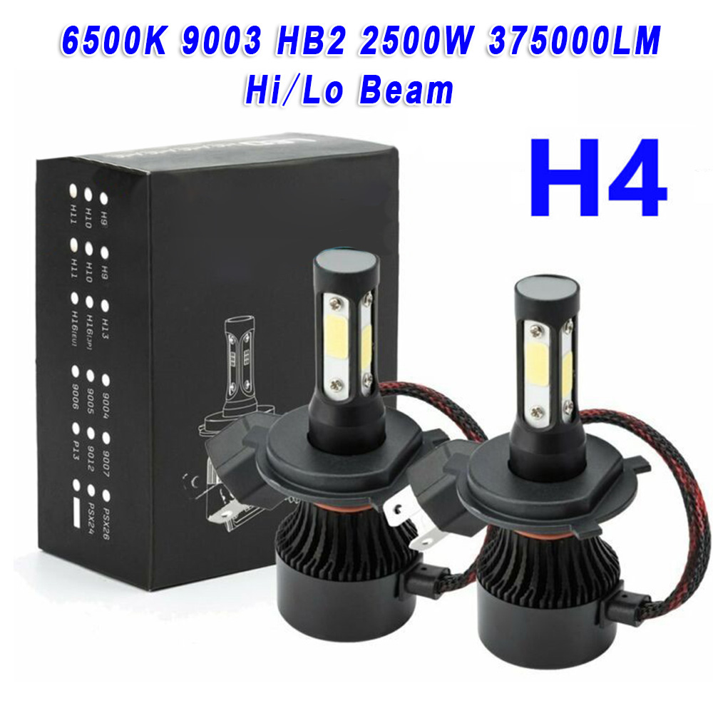 2pcs H4 9003 HB2 9V-32V Car 4-Sides LED Headlight Bulb Fog Lamp Spotlight High/Low Beam 375000LM 6000K-6500K White Car LED Light