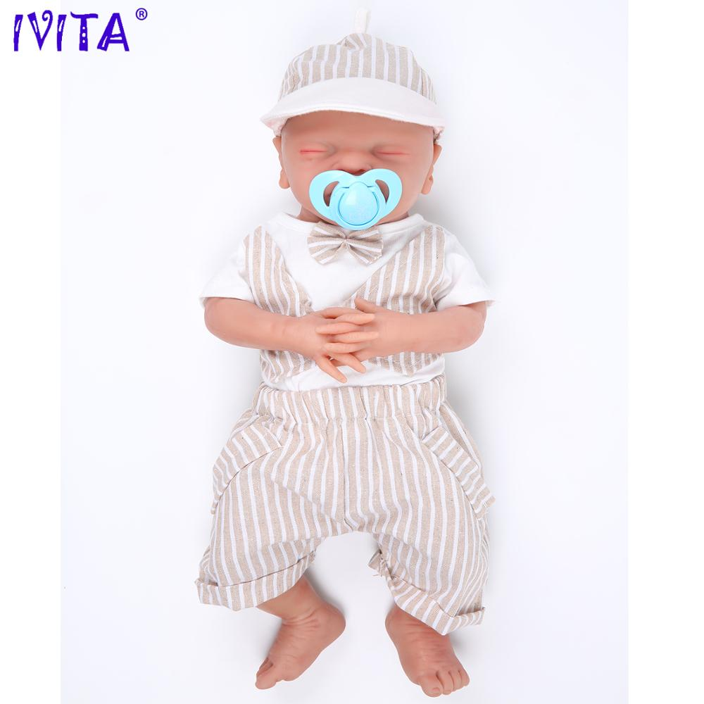 IVITA WB1514 46 см 3000 г настоящий полный силикон Bebe Reborn спящий малыш рот открытые игрушки закрытые глаза для детей куклы