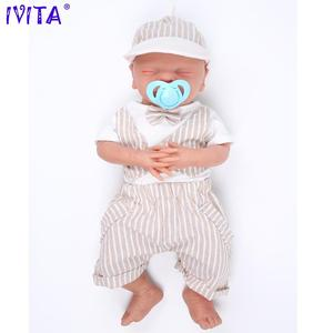 IVITA WB1514 46cm 3000g Real Full Silicone Bebe Reborn Sleeping Baby Boy Mouth Opened Toys Closed Eyes Babies for Children Dolls