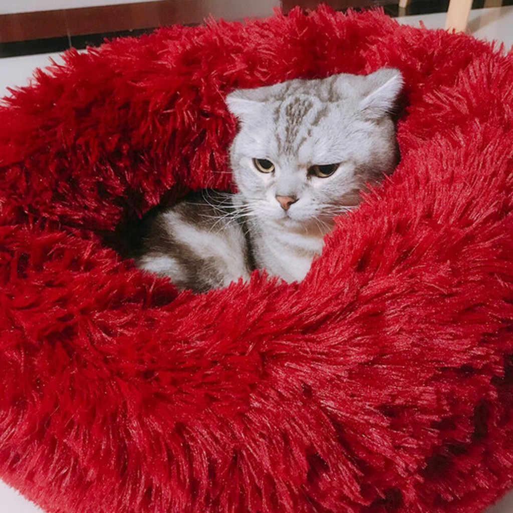 2020 Kennel Hond Huisdier Mat Warming Ronde Kussen Pluche Kennel Honden Zachte Bed Kattenbakvulling Slapen Bed Huis Dierbenodigdheden cama Cachorro