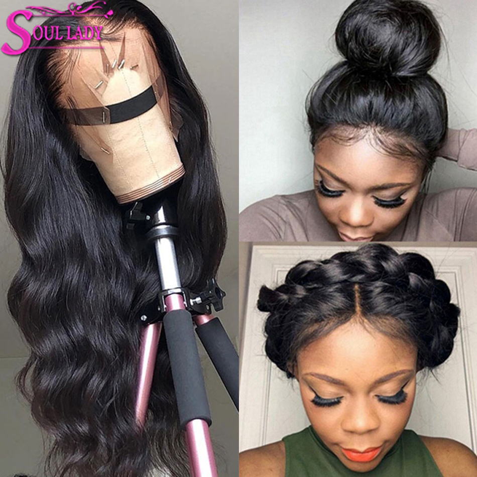SoulLady 13x6 Body Wave Lace Front Human Hair Wigs Bleach Knots For Black Women 150%Density Pre Plucked Remy Malaysian Hair Wigs