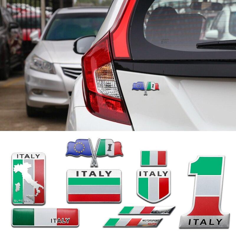 3d alumínio itália bandeira decoração do carro adesivo para fiat 500 benz inteligente lancia alfa romeo peugeot 308 toyota dacia acessórios