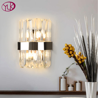 Youlaike Modern Wall Sconce Lighting Creative Design Chrome Bedroom LED Crystal Wall Lamp Bedside Home Decor Wall Light Fixture