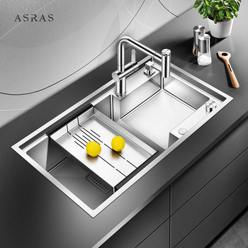 Asras 8045J SUS304 handmade kitchen sink fine brushed with drainer and kitchen tap manufacturer free shipping DHL used in good condition f3lc11 1f with free dhl
