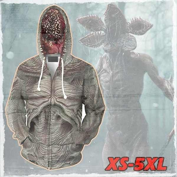 Stranger Things Demogorgon Hoodie Halloween Cosplay Costume Jacket Zipper Hooded Unisex Sweatshirt Plus Size(XS-5XL)