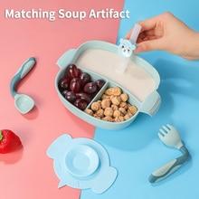 Silicone Baby bowl+spoon+fork Feeding Food Tableware Cartoon Kids Dishes Baby Eating Dinnerware Set Anti-hot Training Plate