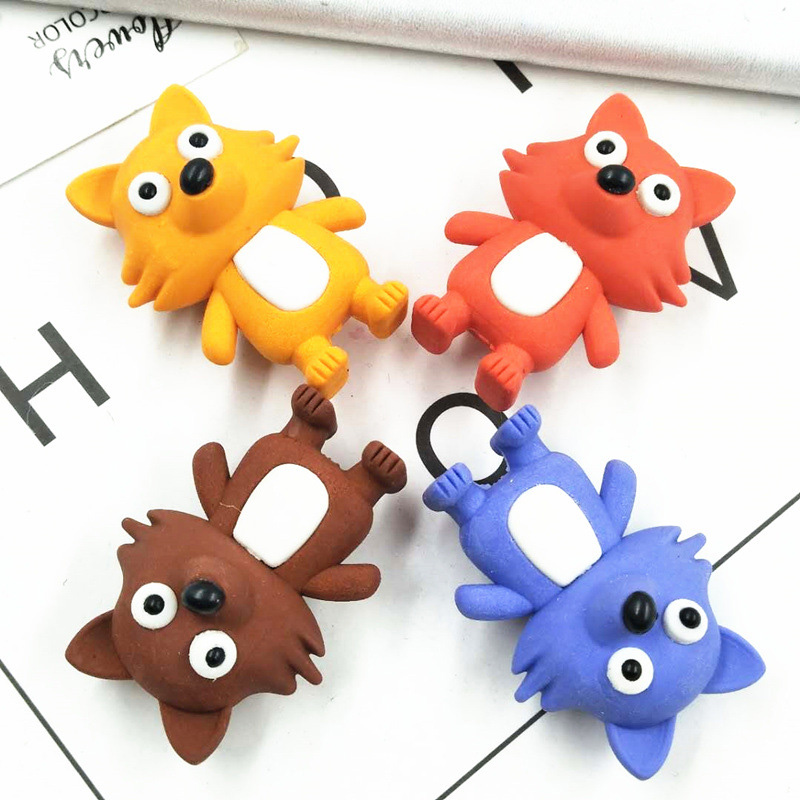 1PC Kawaii Pencil Erasers Cute Rubber Erasers Creative Fox Erasers For Kids Back To School Gifts Office Supplies Stationery