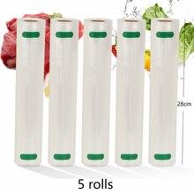Sacos de vácuo para alimentos, sem bpa, 5 rolos de saco de armazenamento para aferidor de vácuo de alimentos, embalagem 12 + 15 + 20 + 25 + 28cm * 500cm