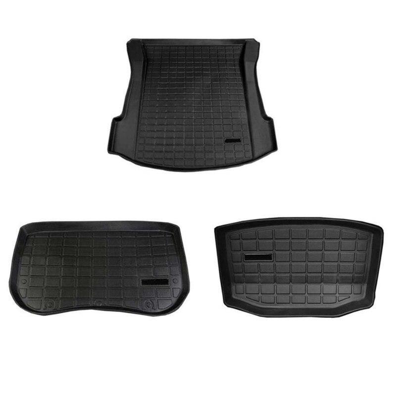 トランクフロントと貨物耐久性マット車 accessorie テスラモデル 3 黒熱可塑性エラストマー修正パッド自動 Accessori