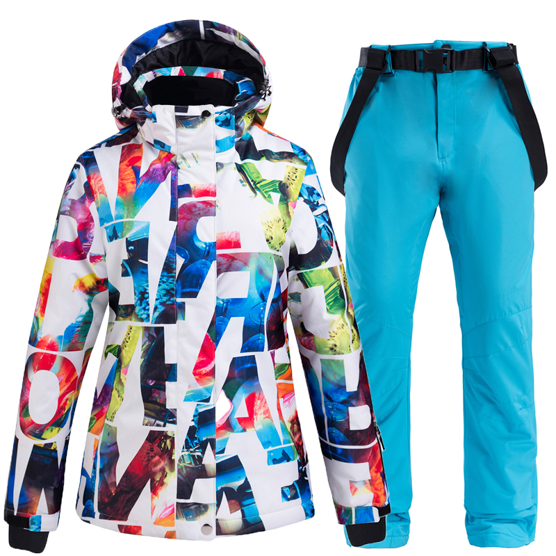 Winter Women's Ski Suit Thick Warm Ski Jacket And Pants Women Waterproof Windproof Skiing And Snowboarding Suits Female Ski Set