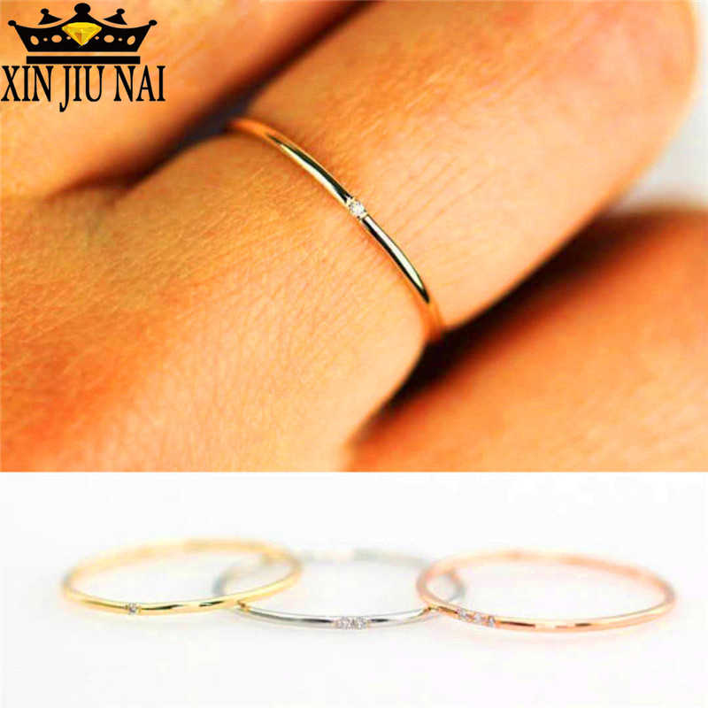 Stacking Female Thin Ring With Stone Rose Gold Filled Dainty Wedding Rings For Women White Crystal Midi men ring