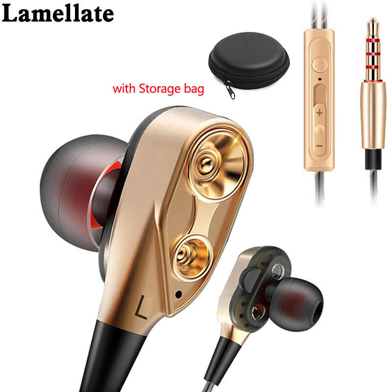 Lamellated Stereo Kabel Earphone Headphone 2 Dynamic Super Bass untuk Xiaomi Samsung Huawei Ponsel Mp3 Earphone 3.5 Mm dengan MIC jack