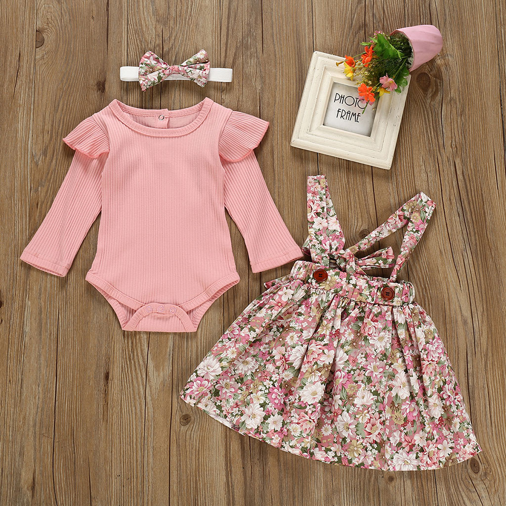 Toddler Baby Girl Clothes Boho Floral Skirt Set Solid Bow Decor Long-Sleeve T-Shirt Outfit Set