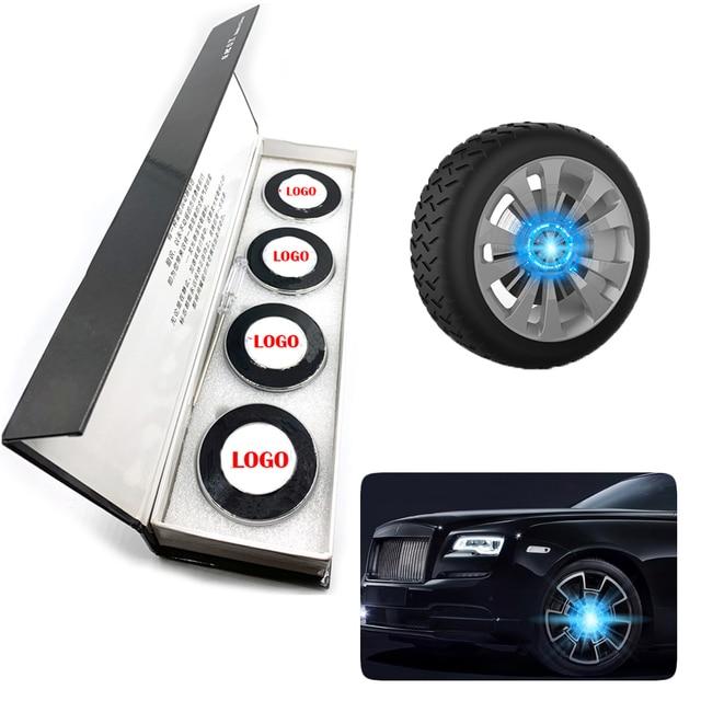 4 ピース/セットホイールハブライトカーアクセサリー磁気サスペンション led フローティングホイールキャップ照明ハブキャップライト