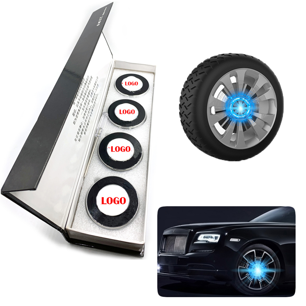 4pcs/set Wheel Hub Light Car Accessories Magnetic Suspension Led Floating Wheel Cap Illumination Hub Cap Lights Running Lights