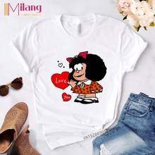 Toda Mafalda de dibujos animados lindo T camisa mujeres Harajuku carta impresión manga corta Streetwear camiseta de moda Kawaii Casual niña Tops