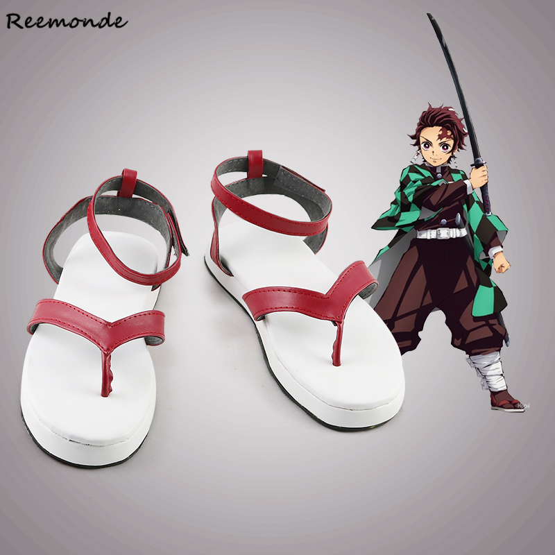 Anime Demon Killer: Kimetsu No Yaiba Kamado Hibiscus Tanjirou Shoes Kamado Nezuko Cosplay Shoes Split Toe Socks Halloween Boots