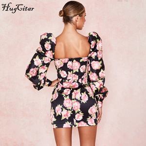 Image 5 - Hugcitar 2019 rose floral print long puff sleeve ruched sexy mini dress autumn winter women party elegant streetwear outfits