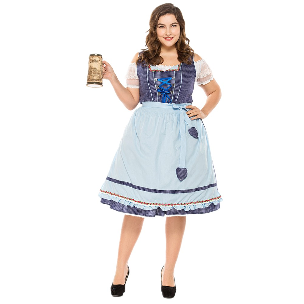 Plus Size 3XL Germany Oktoberfest Traditional Women Beer Girl Maid Costume Halloween Bavarian Dirndl Wench Waitress Dress With A