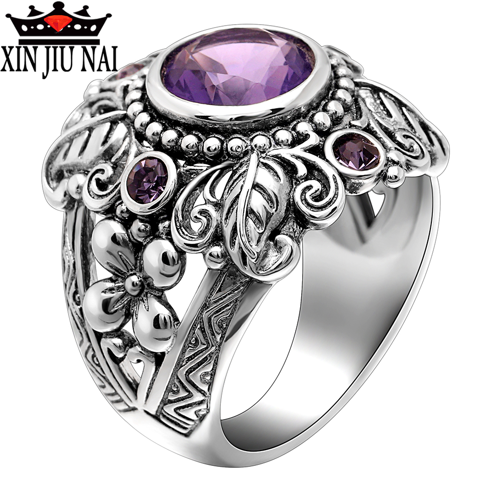 925 Sterling Silver  Vintage Thai Silver Color Flower  Leaf Shaped Big Crystal Ring For Woman With Purple CZ Stone Amethyst Ring