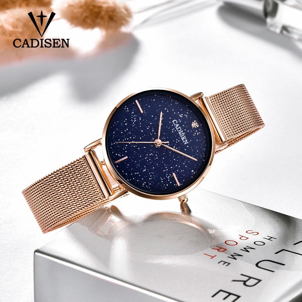 Ladies Watch CADISEN New Casual Fashion Quartz Watch Starry Sky Stainless steel Wristwatch Simple Designer Women Clock