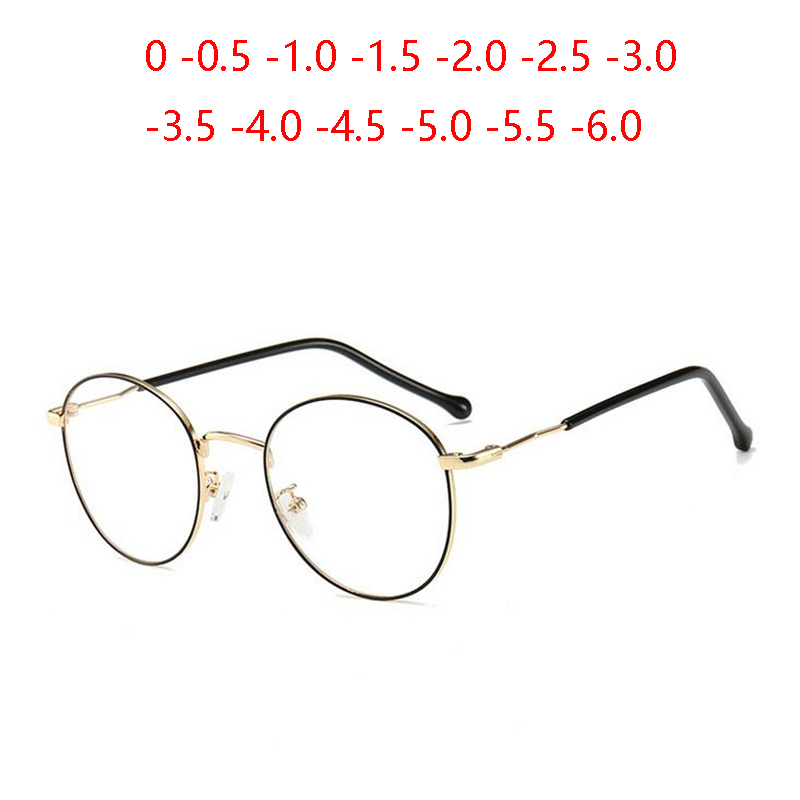 Oval 1.56 Aspherical Lens Prescription Eyeglasses Women Men Student Optical Spectacle Nearsighted Glasses 0 -0.5 -0.75 To -6.0