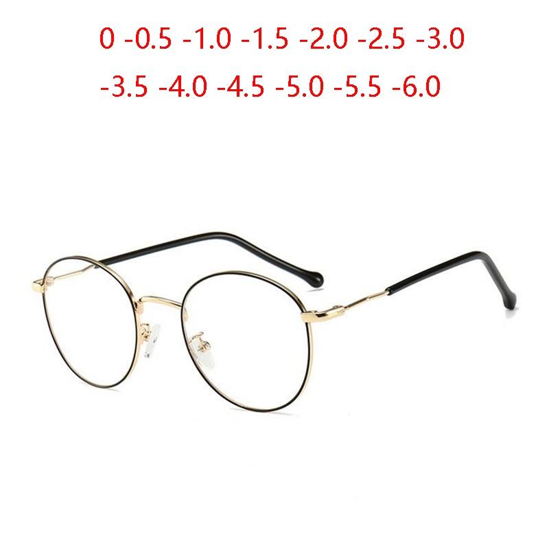 Oval 1.56 Aspherical Lens Prescription Eyeglasses Women Men Student Optical Spectacle Nearsighted Glasses 0 -0.5 -0.75 To -6.0
