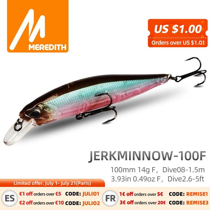 MRERDITH JERK MINNOW 100F 14g Hot Model Fishing Lure Hard Bait 24Color wobbler Minnow Quality Professional Depth0.8-1.5m 1