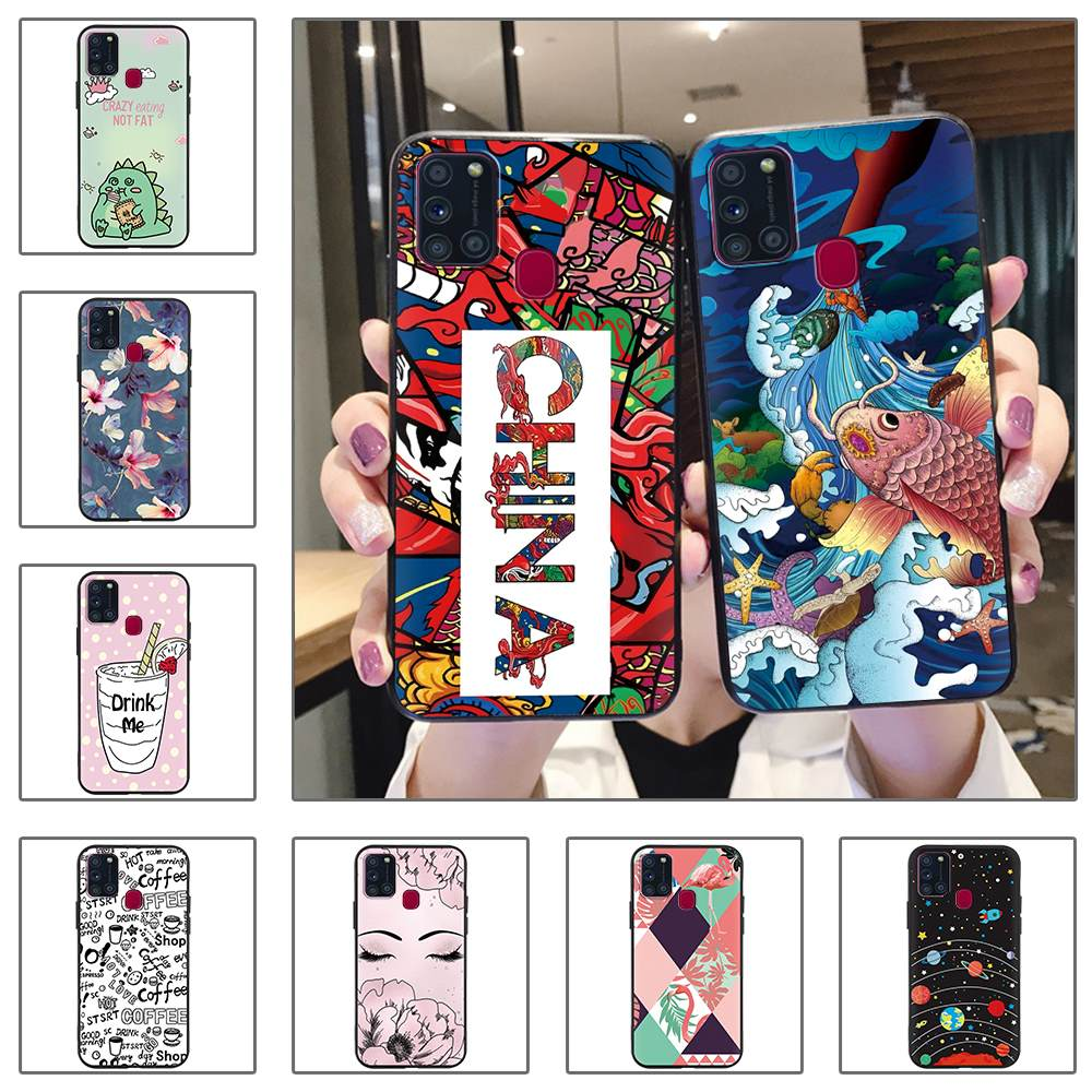 Anti-Dust For Woman Phone Case For Samsung Galaxy A21S Anti-Knock Cute Waterproof New Soft