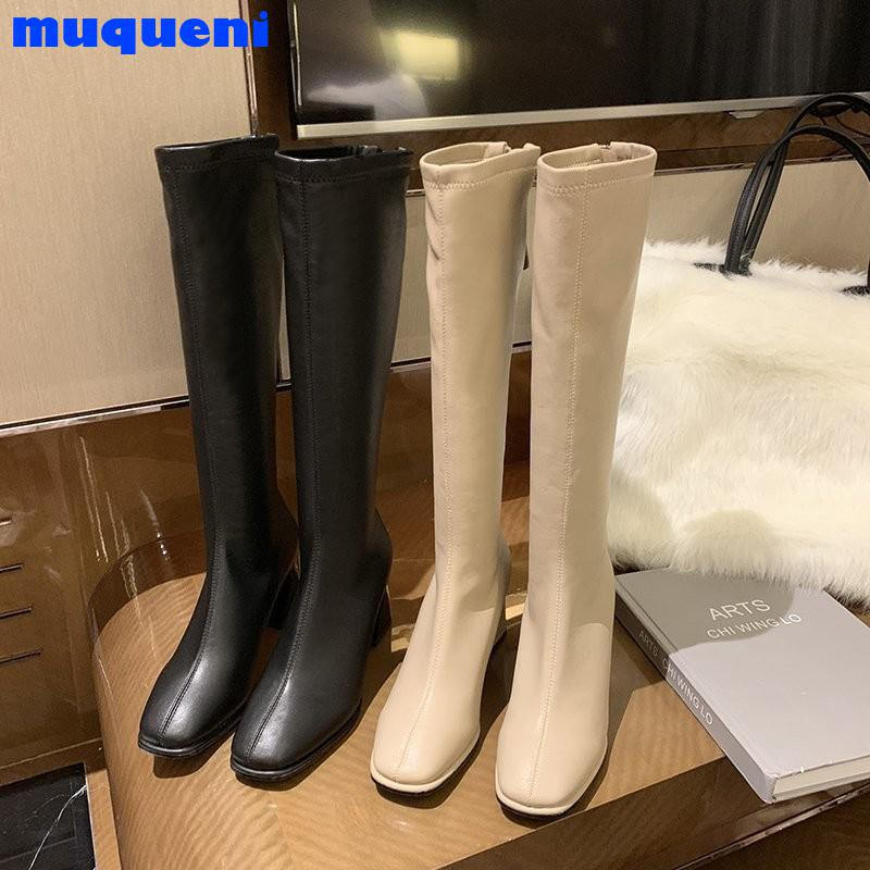 Fashion Women Sock Boots Elastic Stretch Boots Woman Square Toe Knee High Heels Sock Boots Side Zipper Thick High Heels Knight