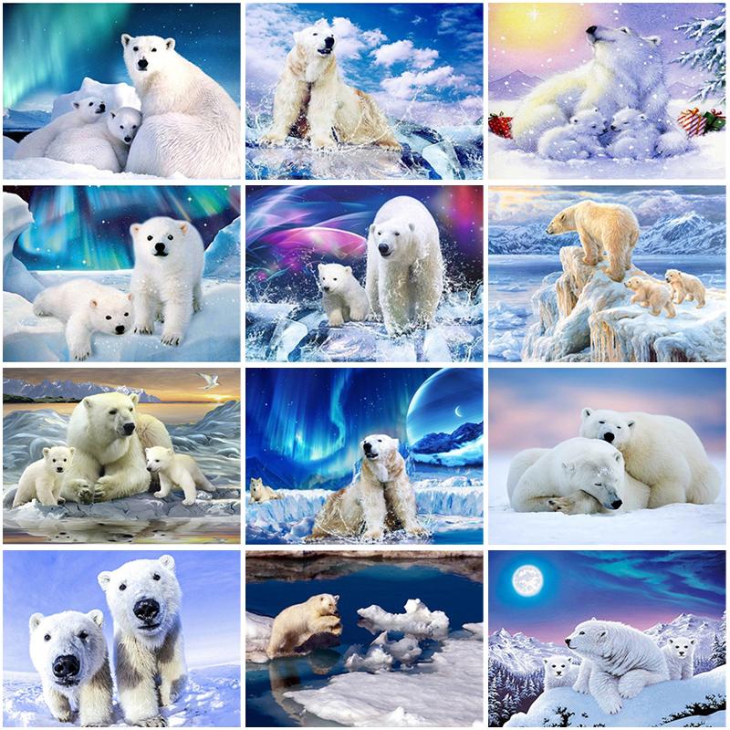 Diy 5d diamond painting full round drill animal embroidery polar