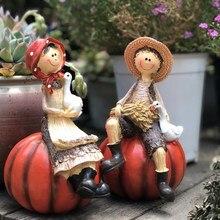 Miłośnicy duszpasterstwa rzemiosło żywiczne śliczne figurki dyni statua ozdoby rzeźba dekoracja do przydomowego ogrodu prezent na ślub/urodziny