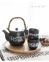 Japonês de alta temperatura esmalte cor cerâmica azul tingido chá conjunto com um pote e quatro copos presente conjunto|Jogos de chá| |  -