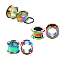 6PC Steel Colorful Anodized Double Flared Internally Thread Screw Fit Ear Flesh Tunnel Plug Ear Gauge Expander Piercing Jewelry(China)