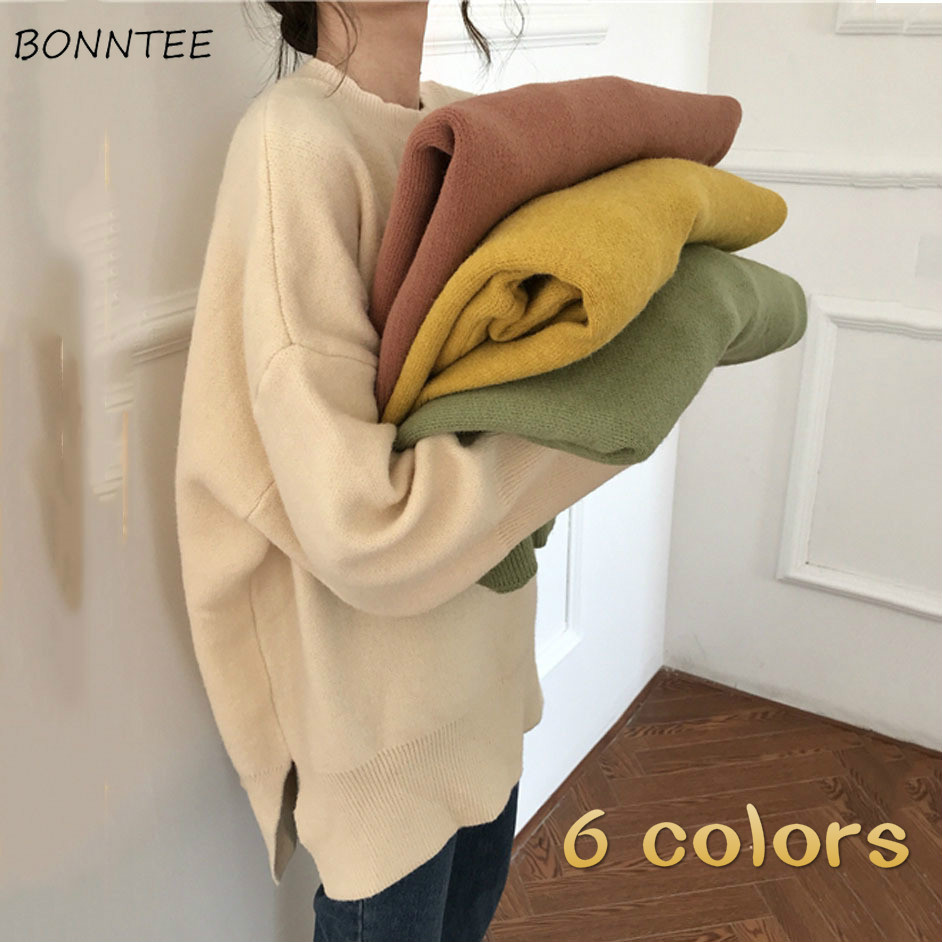 Knitting Sweaters Women Candy Color Sweet Soft Split All-match Harajuku Student Simple Girls Oversized Pullover Leisure Fashion