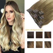 Real Human Clip In Hair Extensions Natural Straight Remy Hair Balayage Color Full Head Clip in Extensions 120g/7Pcs A Set
