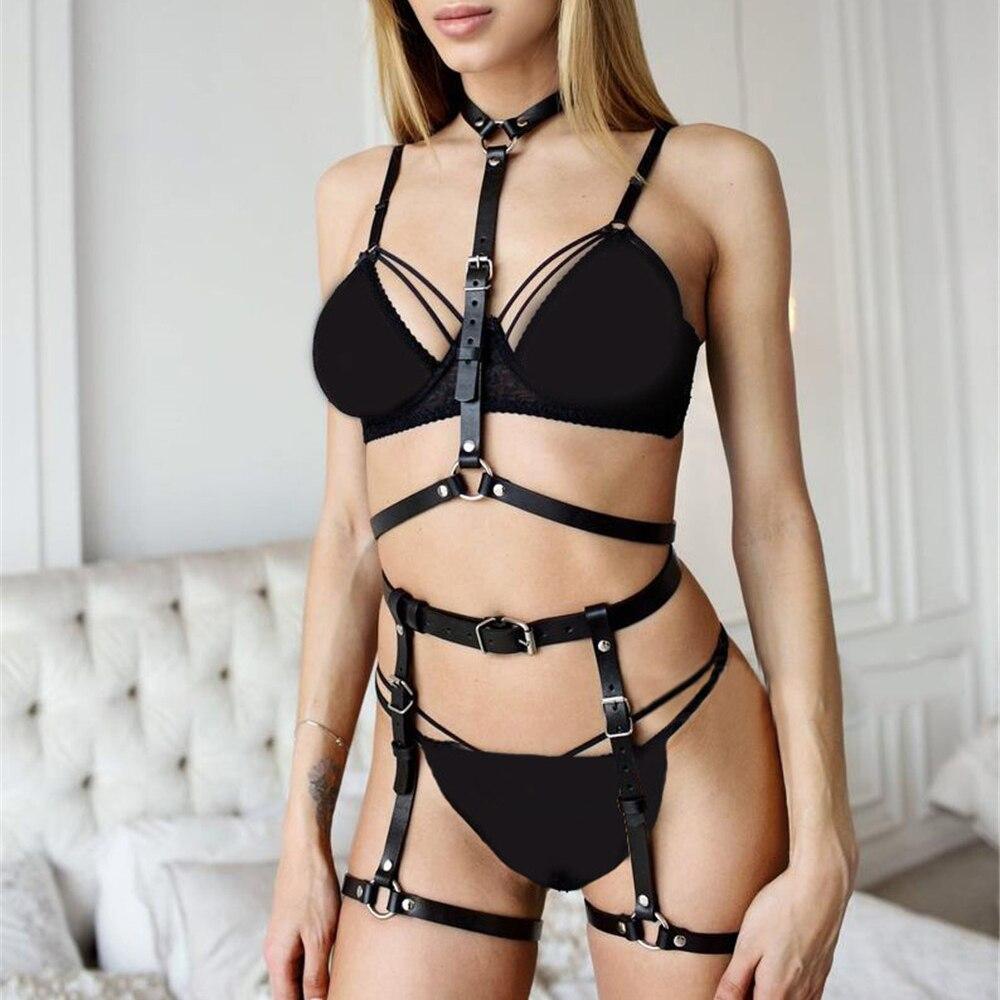 Sexy Women Faux Leather Garter Strap Belt Bdsm Leg Suspenders Restraints Harness